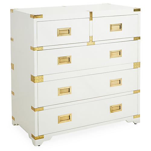 "Kimber 39"" Campaign Chest, White"