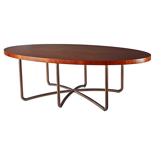 """Amie 54"""" Oval Coffee Table, Brown"""