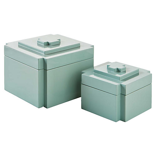 Asst. of 2 Deco Nesting Boxes, Ice