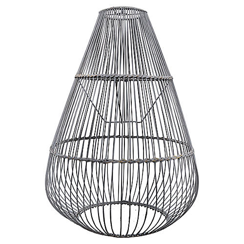 Ray Bamboo Pendant, Gray Wash