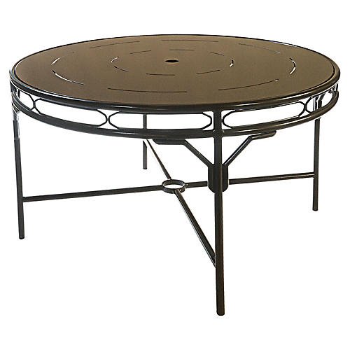 Regeant Round Dining Table, Brass