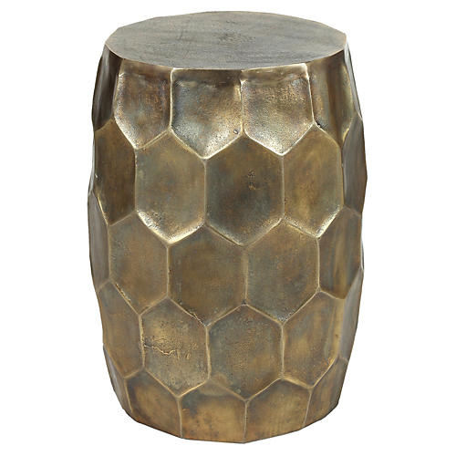 Hive Spot Table, Antiqued Brass
