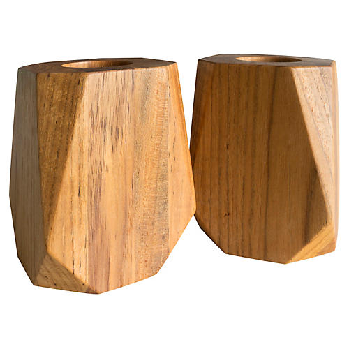 S/2 Medium Prism Teakwood Votive Holders