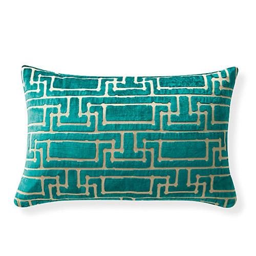 Yvan Geo Velvet 24x16 Pillow, Blue