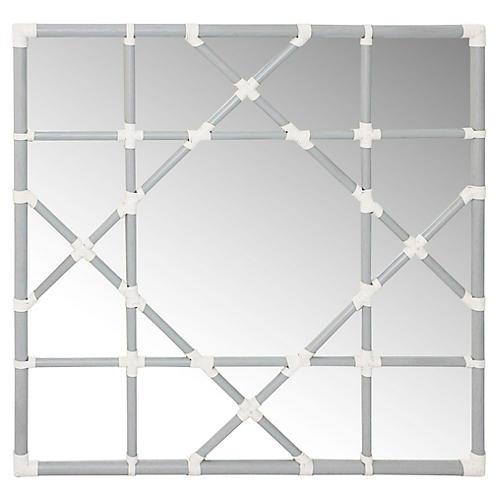 "Mayfair 36"" Octagonal Lattice Mirror, Silver"