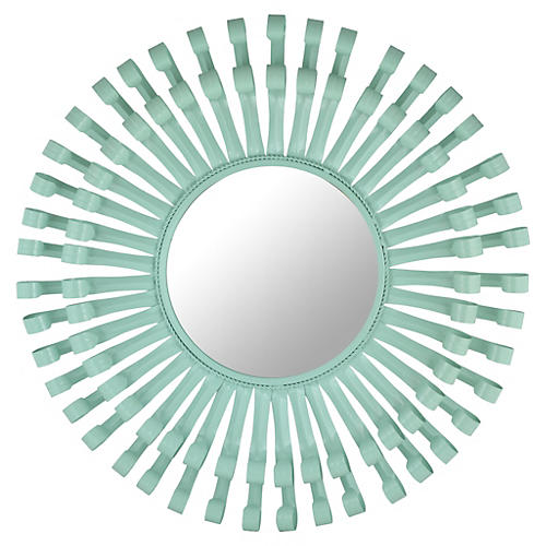 "Mayfair 32"" Round Swirls Mirror, Aqua"