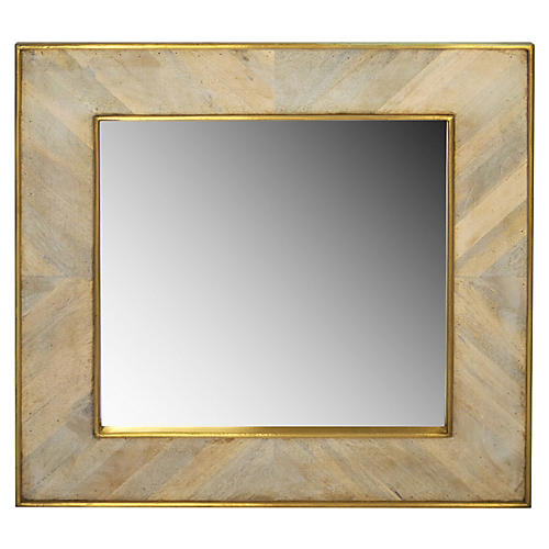Wooden Square Mirror, Gold