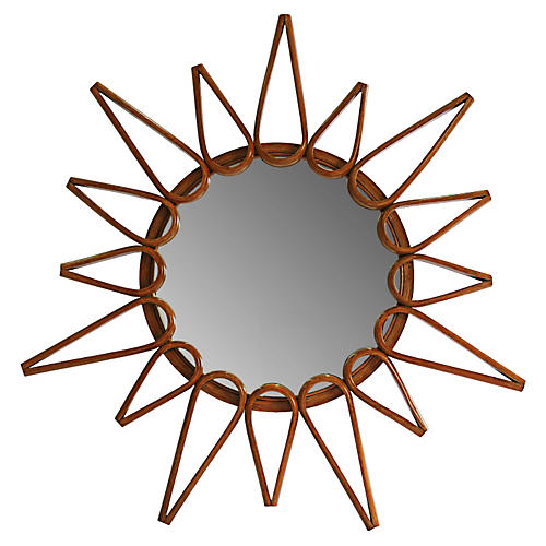 "Ray 44"" Round Mirror, Walnut"