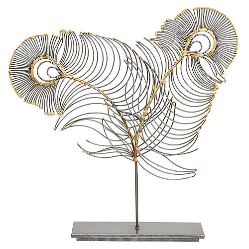 "22"" Peacock Feather Sculpture, Gray"