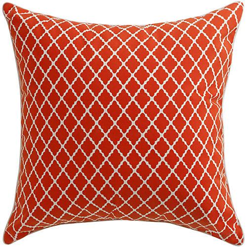 Antiqued Lattice 22x22 Pillow, Red