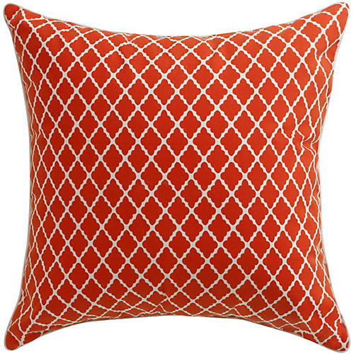 Antiqued Lattice 22x22 Pillow, Red