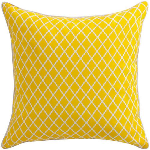 Antiqued Lattice 22x22 Pillow, Yellow