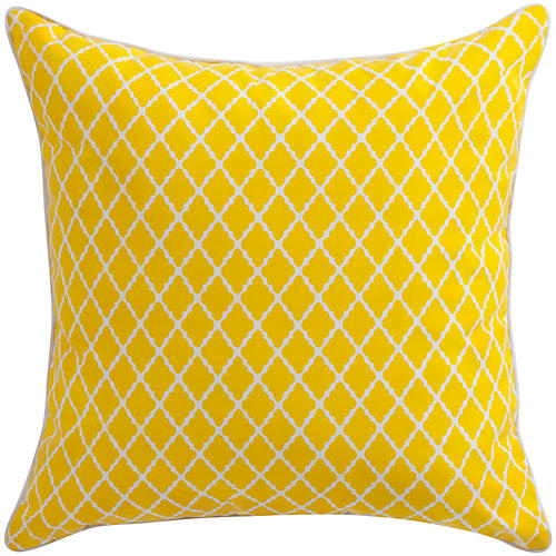 Antiqued Lattice 22x22 Pillow, Yellow