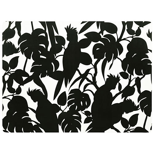 S/4 Cockatoo Place Mats, Black