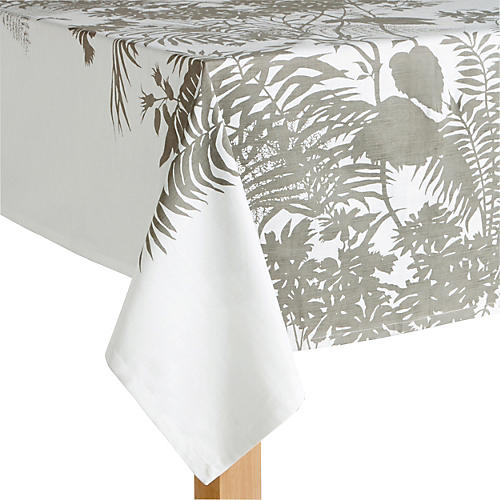 Floral Tablecloth, Gray