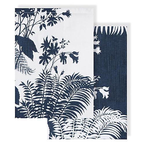 Asst. of 2 Floral Tea Towels, Blue