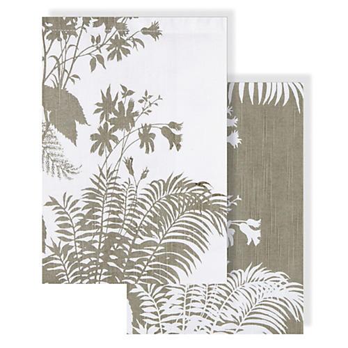 Asst. of 2 Floral Tea Towels, Gray
