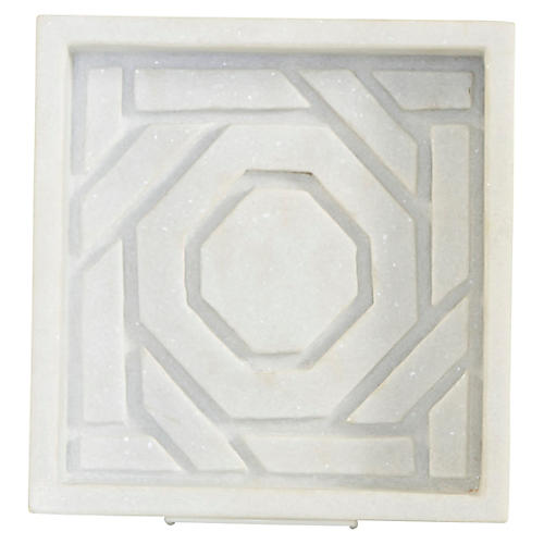 "9"" Mayfair Lattice Tray, White"