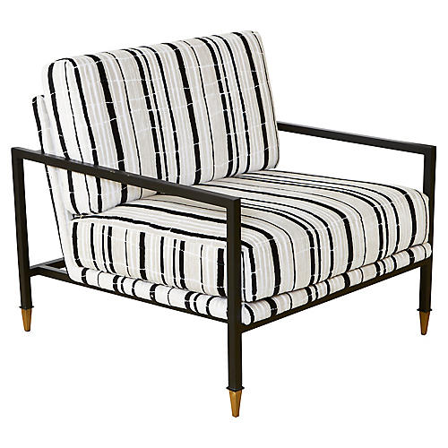 Sydney Club Chair, Ivory/Black Velvet