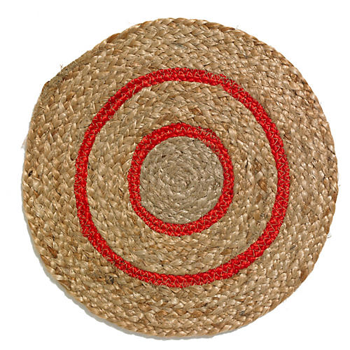 Rapee Toulouse Round Place Mat, Natural/Red