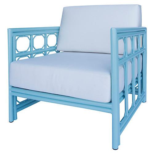 Regeant Outdoor Lounge Chair, Blue Sunbrella