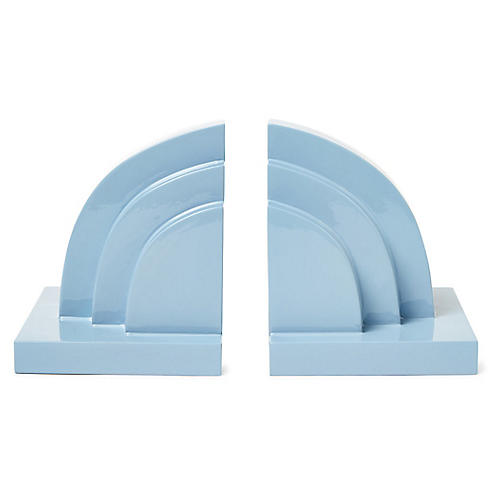 S/2 Henri Bookends, Light Blue