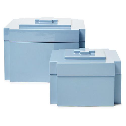 Asst. of 2 Jalk Nesting Boxes, Light Blue
