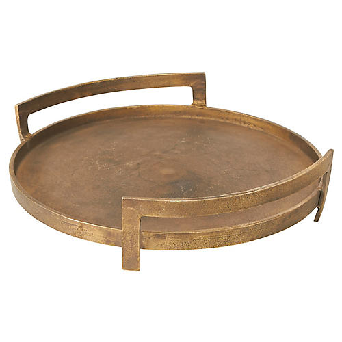 "14"" Holworth Round Tray, Antiqued Gold"