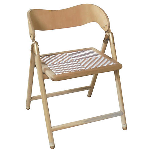 Uttan Folding Side Chair, Tan/White