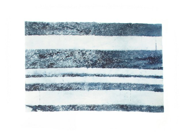 Small Indigo Dyed Striped Blanket
