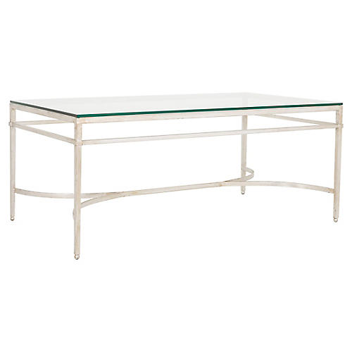 Larsen Glass Coffee Table, Silver