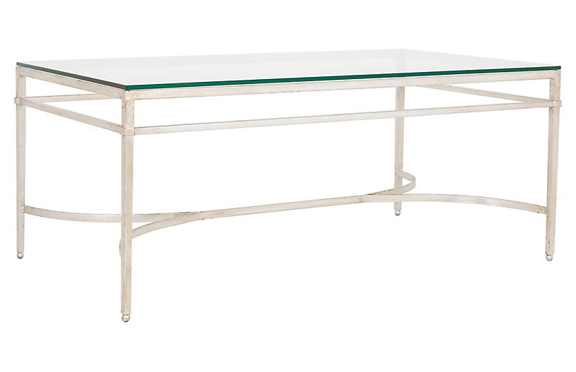 Larsen Glass Coffee Table, Silver
