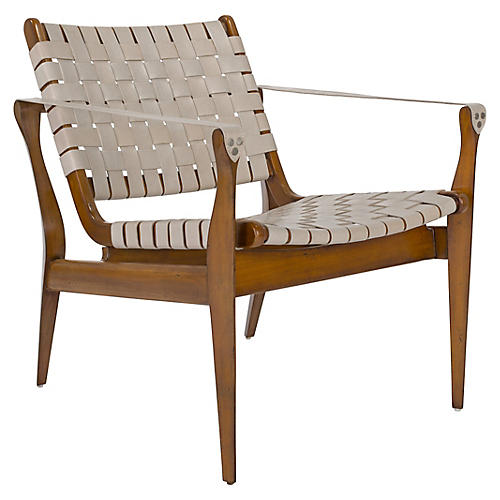 Landon Club Chair, White/Brown Leather