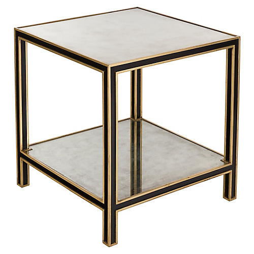 Cambria Mirrored Side Table, Black/Gold