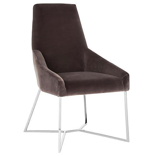 Evrex Accent Chair, Smoke Velvet