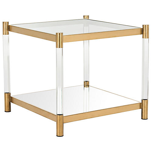 Shayla Acrylic Side Table, Brass