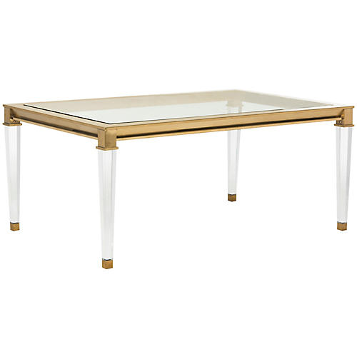 Charleston Acrylic Coffee Table, Brass