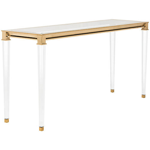 Charleston Acrylic Coffee Table, Brass