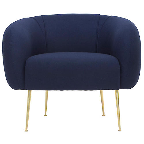 Alena Accent Chair, Navy