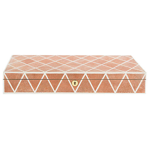 "20"" Alaina Faux Shagreen Box, Orange"