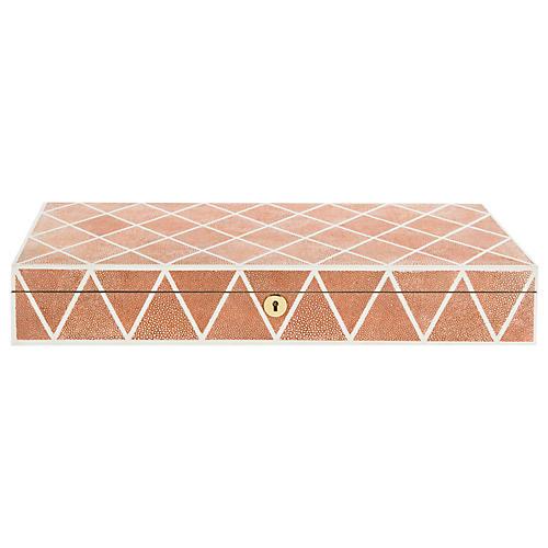 "20"" Alaina Faux Shagreen Box, Orange"