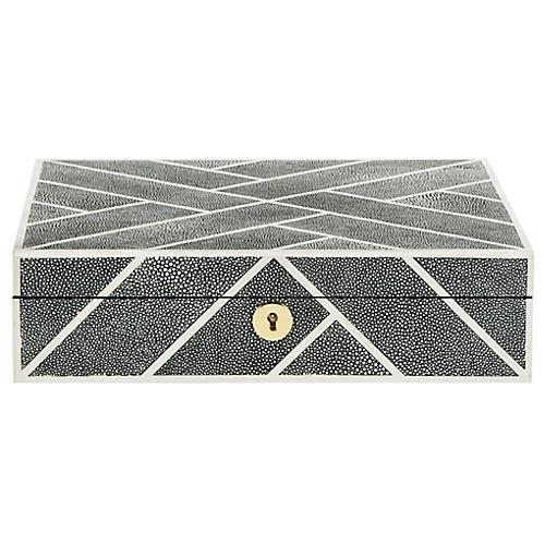 "11.4"" Ebba Faux Shagreen Box, Black"