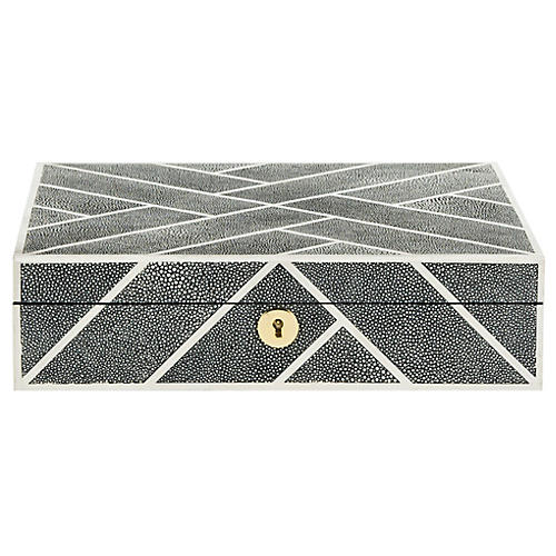 "11.4"" Ebba Faux Shagreen Box, Black"
