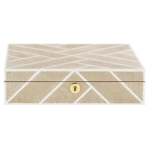"""11.4"""" Ebba Faux Shagreen Box, Beige"""