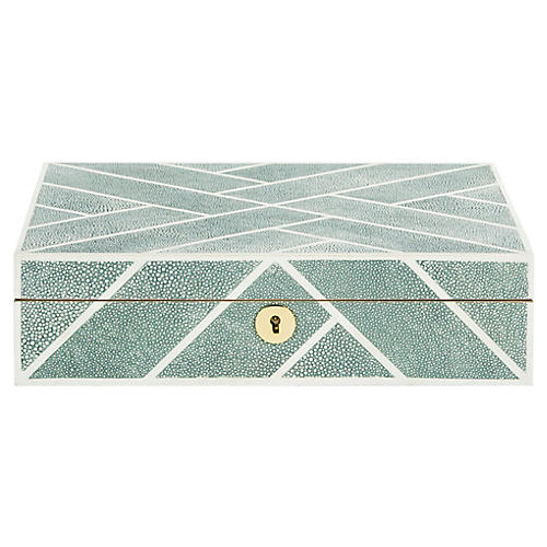 "11.4"" Ebba Faux Shagreen Box, Blue"