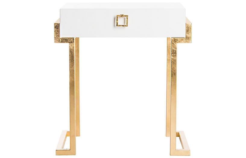 Abele Nightstand, White/Gold