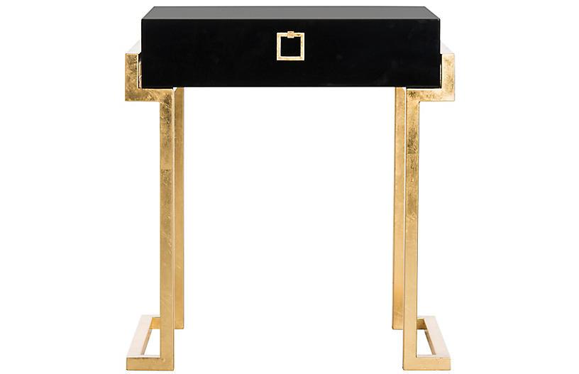 Abele Nightstand, Black/Gold