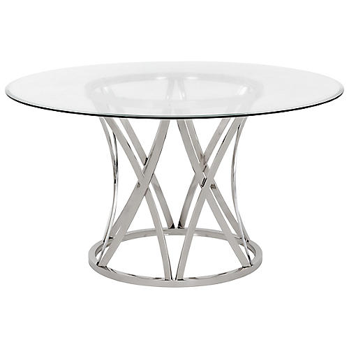Kyrie Dining Table, Silver/Clear
