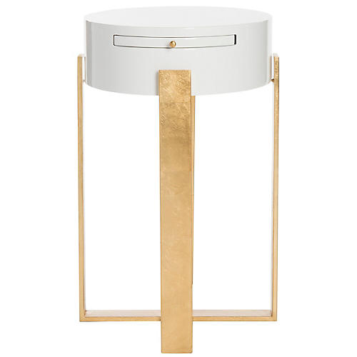 Yaryna Side Table, White/Gold