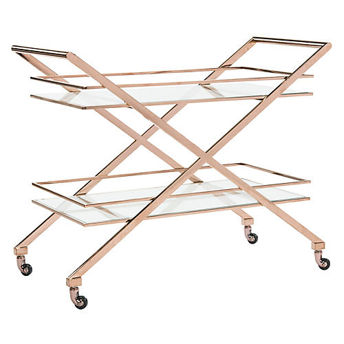 Marcelo Bar Cart, Polished Gold